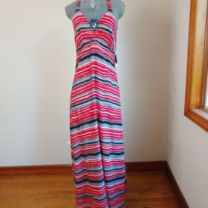 Jack BB Dakota Striped Tie Back Maxi Dress Size XS